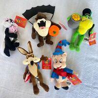 "5 Vintage Looney Tunes Years Warner Brothers Mini 6"" Plush Bean Bag 1999 NWT"