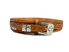 Vtg Brown Hand Tooled Carved Leather Cowboy Western Ranger Belt & Buckle 32-34
