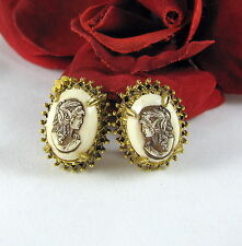 Vintage Florenza Faux Cameo Clip on  Earrings  CAT RESCUE