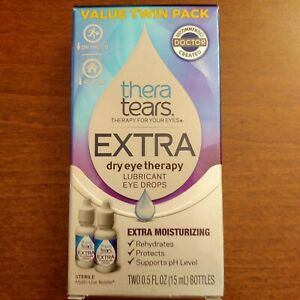 TWIN Pack Thera Tears EXTRA Dry Eye Therapy Lubricant Eye Drops 0.5 oz exp: 3/22