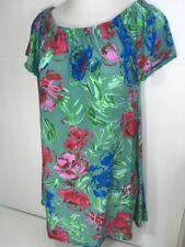24/7 Comfort Apparel Dress Off Shoulder Size Large Green Floral Beach Garden New