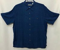 Mens Batik Bay 2XL XXL Blue Palm Print Short Sleeve Button Front Shirt Rayon