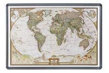 Weltkarte auf Kork Pinnwand englisch Alu-rahmen 90x60cm #199086alu