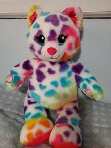 "BABW / Build a Bear Workshop Rainbow Hearts CAT 16"" Plush Stuffed Toy"
