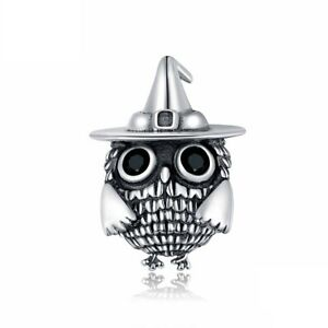 I Love My Owl Animal Charm Genuine Sterling Silver 925 And Black Cubic Zirconia