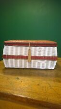 Vtg 1950's 60s Woven Plastic Sewing Box Carry Case Basket Weave Red Top Retro