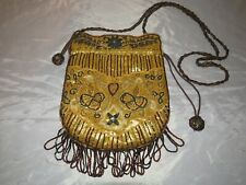 Vintage Estate Yellow Gold Silk Hand Beaded Hand Bag Purse