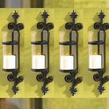 Lot of 4 Tuscan Sconce Black Candle Holder Wall Decor