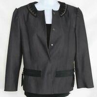 Tahari Women's Grey Black Embellished Collar Jacket Blazer Size 6