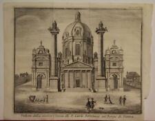 VIENNA KARLSKIRCHE AUSTRIA 1740 THOMAS SALMON ANTIQUE COPPER ENGRAVED VIEW