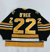 WILLIE O'REE SIGNED VINTAGE CCM #22 BOSTON BRUINS JERSEY LICENSED PROOF JSA COA