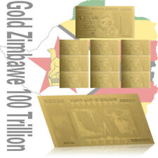 WR Zimbabwe 100 Trillion Dollar Gold Foil Plated Banknote 10PCS Gift Set