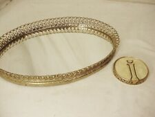 Vtg Gold Tone Metal Oval Tray & Compact Filigree Mirror Dresser Vanity Perfume