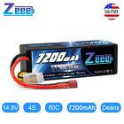 Zeee 7200mAh 4S 14.8V 80C Hardcase LiPo Battery Deans Plug for RC Car Truck Tank