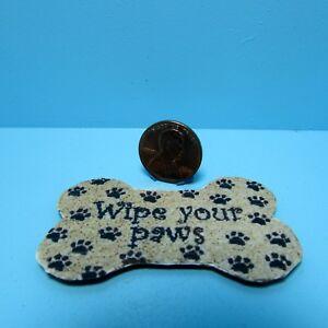 Dollhouse Miniature Wipe Your Paws Welcome Mat Dog Bone Shape RND166