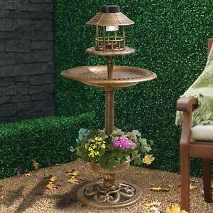 BRONZE BIRD HOTEL FEEDER & BATH WITH SOLAR LIGHT GARDEN ORNAMENTAL TABLE STATION