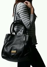 Marc by Marc Jacobs New Q Fran Leather Shoulder Tote Black Natasha Style Classic