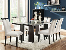 LORA - 7 pieces Modern Black Rectangular LED Lighted Dining Room Table Chair Set