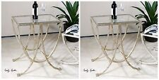 Two New Forged Antiqued Silver Finished Iron Base Beveled Glass Top End Table