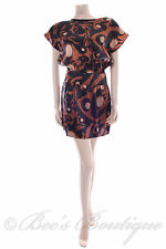 New Size 8 Papaya Black Brown Copper Gold Dress Summer Evening Party
