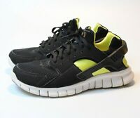 Nike Air Huarache 487654-010 Men's 8.5 Running Shoes Black Yellow Neon EUC