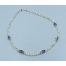 PETITE 925 Sterling Silver Natural Purple Amethyst White Pearl Necklace