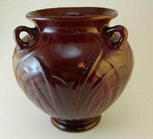 """Vintage Selden Bybee Pottery Vase 511 Dark Red 3 Handles Burgundy 7"""" Tall"""