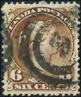 Canada #27 used VF 1868 Queen Victoria 6c yellow brown Large Queen 2-ring '3'