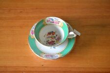 Vintage tea cup &  2 x saucers lyrebird  bird green ceramic f  teacup YLBT2
