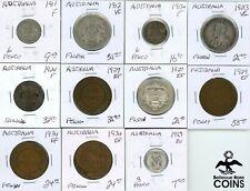 Lot of 11: 1911-1959 Australia Silver (.925) Florin & Bronze Pennies ASW 1.365oz