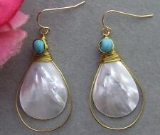 KE062015 Turquoise Shell Earrings-925 Golden Hook