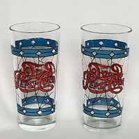 PEPSI COLA TIFFANY STYLE STAINED GLASS DRINKING GLASSES (2) 16 oz., 1970s, EUC