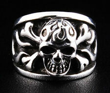 FLAME CROSSBONE SKULL TATTOO .925 STERLING SILVER RING Sz 15.5 MENS BAND BIKER