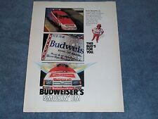 "1985 Budweiser King Kenny Bernstein Ford Tempo Vintage Ad ""Smokin' em"""
