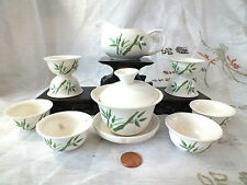 CHINESE JAPANESE GREEN BAMBOO WHITE S TEA SET 8 GUNGFU CUP PARTY GIFT W BOX A2