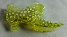 Vintage Fenton Vaseline Opalescent Hobnail Shoe with Cat Great Shape Great Color
