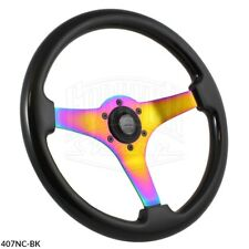 350mm Universal NEOCHROME Black Steering Wheel Car JDM Marine Drift - 6 Hole
