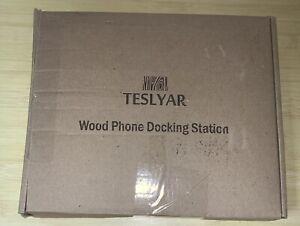 TESLYAR Wood Phone Docking Station Holder Wallet Stand Watch Organizer