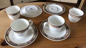 4 Espresso Tassen & Unterteller Hutschenreuther Bone China Brocade Leonard Paris