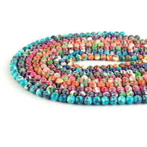 """Multi Color Snow Jade Gemstone Round Spacer Beads 15.5"""" 4mm 6mm 8mm 10mm 12mm"""