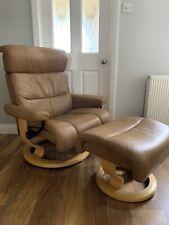 Ekornes Stressless Savannah Leather Reclining Chair & Footstool