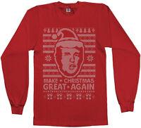 Threadrock Men's Donald Trump Ugly Christmas Sweater Long Sleeve T-Shirt