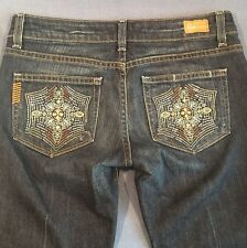 "Paige Laurel Canyon dark wash blue jeans w/deco pockets size 27 33"" Inseam Tall"