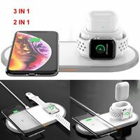 3 in1 Qi Wireless Charging Pad Charger for iPhone 8 X XS Max Apple Watch Airpods