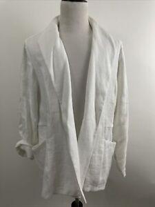 New $218 Eileen Fisher Womens Large Linen Basket White Jacket Long Sleeve Sz 3X