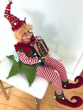 """27"""" New Posable Christmas Boy Elf Doll w/Gift Box Gold Red Green Bell Long Nose"""