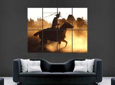 POSTER Da Cowboy Equitazione USA Tramonto Muro Arte Immagine di grandi dimensioni