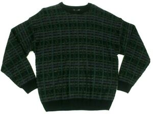 Jantzen Mens Sweater Crewneck Pullover Textured Jacquard Black Multicolor XL NWT