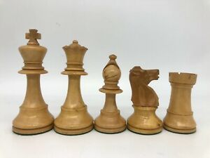 """Vintage Staunton Chess Set. Made in France. Lardy. 3.5"""" King. Weighted w/ Box ."""