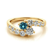 1.52 Cts Blue & White VS2-SI1 2 Stone Diamond Solitaire Ring 14k Yellow Gold